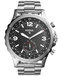 Fossil Q Men's Nate Hybrid Stainless Steel Bracelet Smart Watch 50Mm Ftw1123 Silver