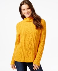 G.H. Bass And Co. Cable Knit Turtleneck Sweater Yellow Gold