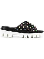 Red Valentino Crystal Embellished Slides Black