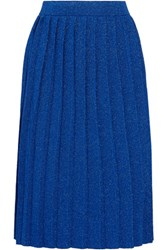 Sibling Pleated Metallic Knitted Skirt Bright Blue