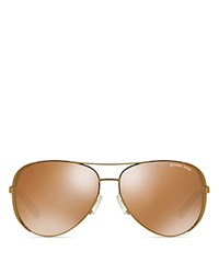 Michael Kors Chelsea Polarized Aviator Sunglasses 59Mm Gold Gold Mirror