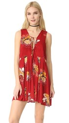 Free People Lovely Day Printed Tunic Dress Red