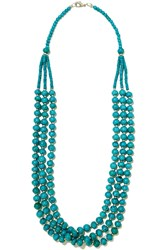 Kenneth Jay Lane Bead And Silver Tone Necklace Blue
