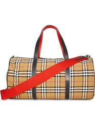 Burberry Large Vintage Check And Leather Barrel Bag Brown