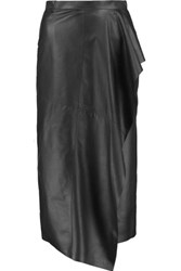 Vionnet Draped Leather Wrap Midi Skirt Black
