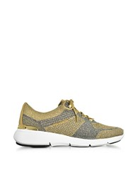 Michael Kors Skyler Pale Gold And Silver Metallic Knit Lace Up Trainers