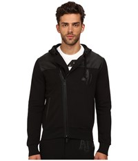 Armani Jeans Poly Cotton Fleece Perforated Eco Leather Zip Track Top Black Men's Sweater