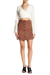 14Th And Union Faux Suede Button Mini Skirt Petite Brown