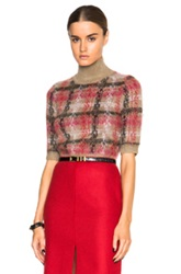 Carven Plaid Turtleneck Sweater In Neutrals Checkered And Plaid Red