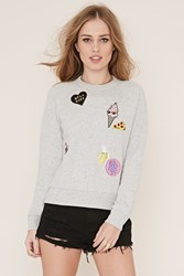 Forever 21 Patch Graphic Pullover Heather Grey Multi