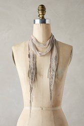Anthropologie Floral Embroidered Skinny Scarf Silver