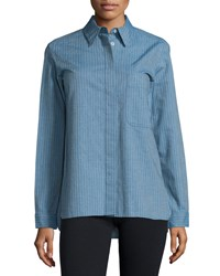 See By Chloe Long Sleeve Button Front Shirt Denim Blue
