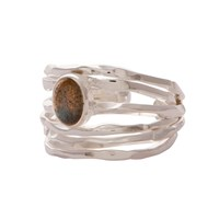 Carousel Jewels Silver Nest Ring With Labradorite Grey