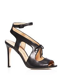 Bettye Muller Decor Cutout High Heel Ankle Strap Sandals Black
