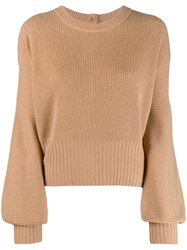 Pinko Wide Sleeves Knit Jumper Neutrals