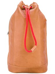 Diesel Signatured Backpack Men Cotton Calf Leather One Size Nude Neutrals