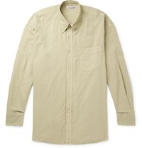 Our Legacy Borrowed Oversized Button Down Collar Garment Dyed Cotton Shirt Green
