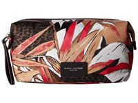 Marc Jacobs Palm Printed Biker Large Cosmetics Landscape Pouch Pink Multi