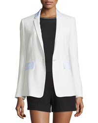 Rag And Bone Windsor Crepe Contrast Trim Blazer White