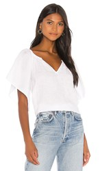 Velvet By Graham And Spencer Linen Kalila Top In White.