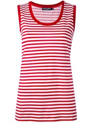 Dolce And Gabbana Striped Tank Top Women Cotton 44 Red