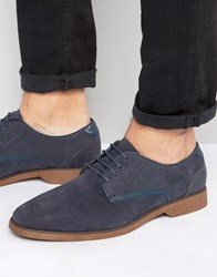 Asos Lace Up Shoes In Navy Suedette With Contrast Leather Details Navy