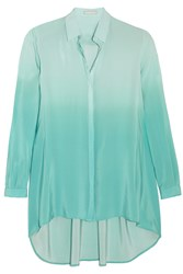Richard Nicoll Degrade Silk Crepe De Chine Shirt Green