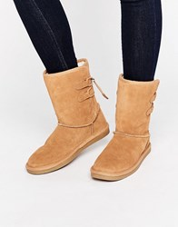 Call It Spring Bridia Tie Back Camel Suede Boots Camel Beige