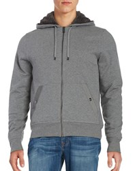 Michael Kors Solid Hooded French Terry Hoodie Ash