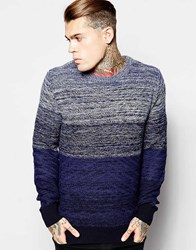 Religion Twisted Yarns Ombre Stripe Jumper Blue