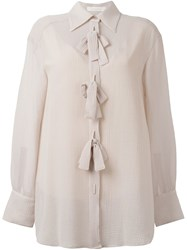 See By Chloe Bow Applique Sheer Shirt Pink Purple