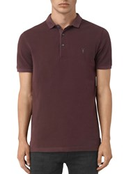 Allsaints Reform Short Sleeve Polo Shirt Damson Red