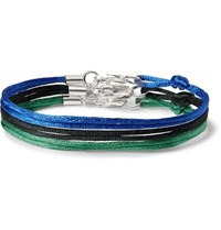 Rubinacci Set Of Three Silk Ribbon Bracelets Blue