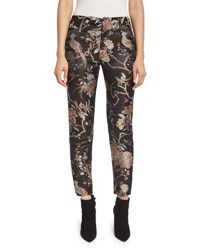 Alice Olivia Stacey Floral Print Ankle Trousers Burgundy