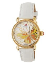 Michele Garden Party Butterfly Watch W Alligator Strap White
