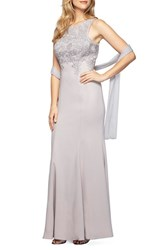 Alex Evenings Women's Embroidered A Line Gown With Chiffon Shawl Platinum