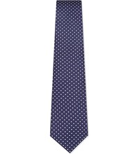 Gieves And Hawkes Dotted Silk Tie Navy