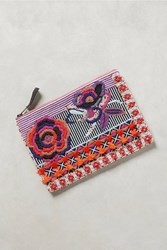 Anthropologie Beaded Flower Pouch Pink