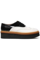 Tod's Woman Perforated Two Tone Leather Platform Brogues White