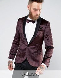 Noose And Monkey Super Skinny Tuxedo Blazer In Crushed Velvet Plum Purple