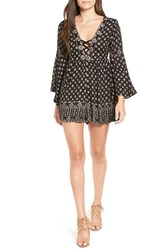Angie Women's Bell Sleeve Print Romper