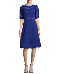 Rickie Freeman For Teri Jon Lace Half Sleeve Cocktail Dress Royal