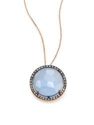 Suzanne Kalan Blue Agate Champagne Diamond And 14K Rose Gold Large Round Pendant Necklace