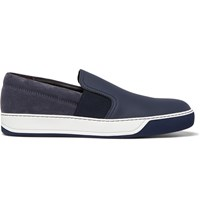 Lanvin Leather Suede And Rubber Slip On Sneakers Blue