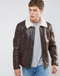 Wrangler Faux Leather Aviator Jacket Brown Mud
