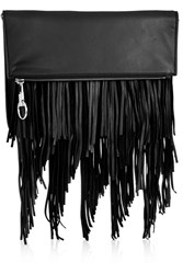 Elizabeth And James Andrew Fringed Leather Clutch Black
