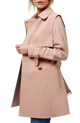 Petite Women's Topshop Belted Double Breasted Trench Coat Light Pink