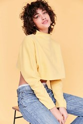 Silence And Noise Kira Crop Pullover Sweatshirt Yellow