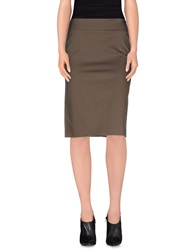 Hache Knee Length Skirts Military Green