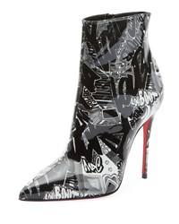 Christian Louboutin So Kate 100 Patent Nicograf Red Sole Booties Black White